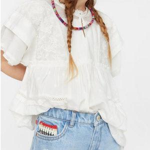NWT Zara White Embroidered Blouse Size XS